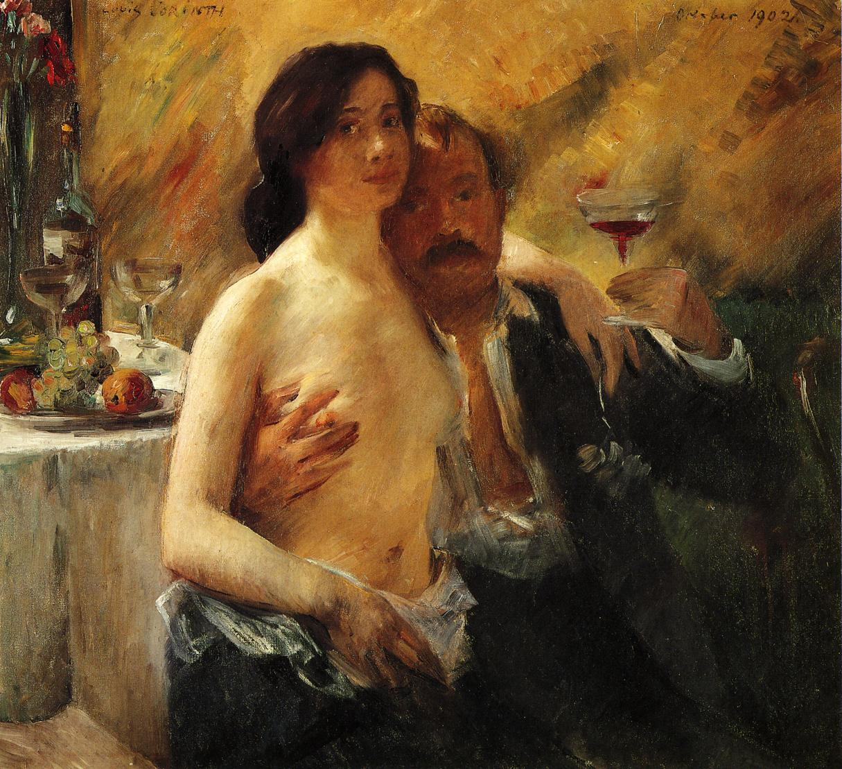 Self Portrait with Charlotte Berend and a Glass of Champagne | Lovis Corinth | oil painting