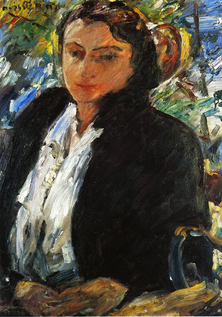 Portrait of Charlotte Berene Corinth in a Green Velvet Jacket | Lovis Corinth | oil painting