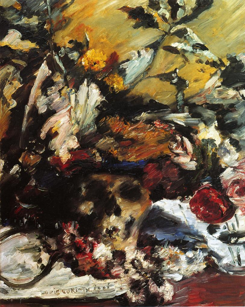 Still Life with Flowers Skull and Oak Leaves | Lovis Corinth | oil painting