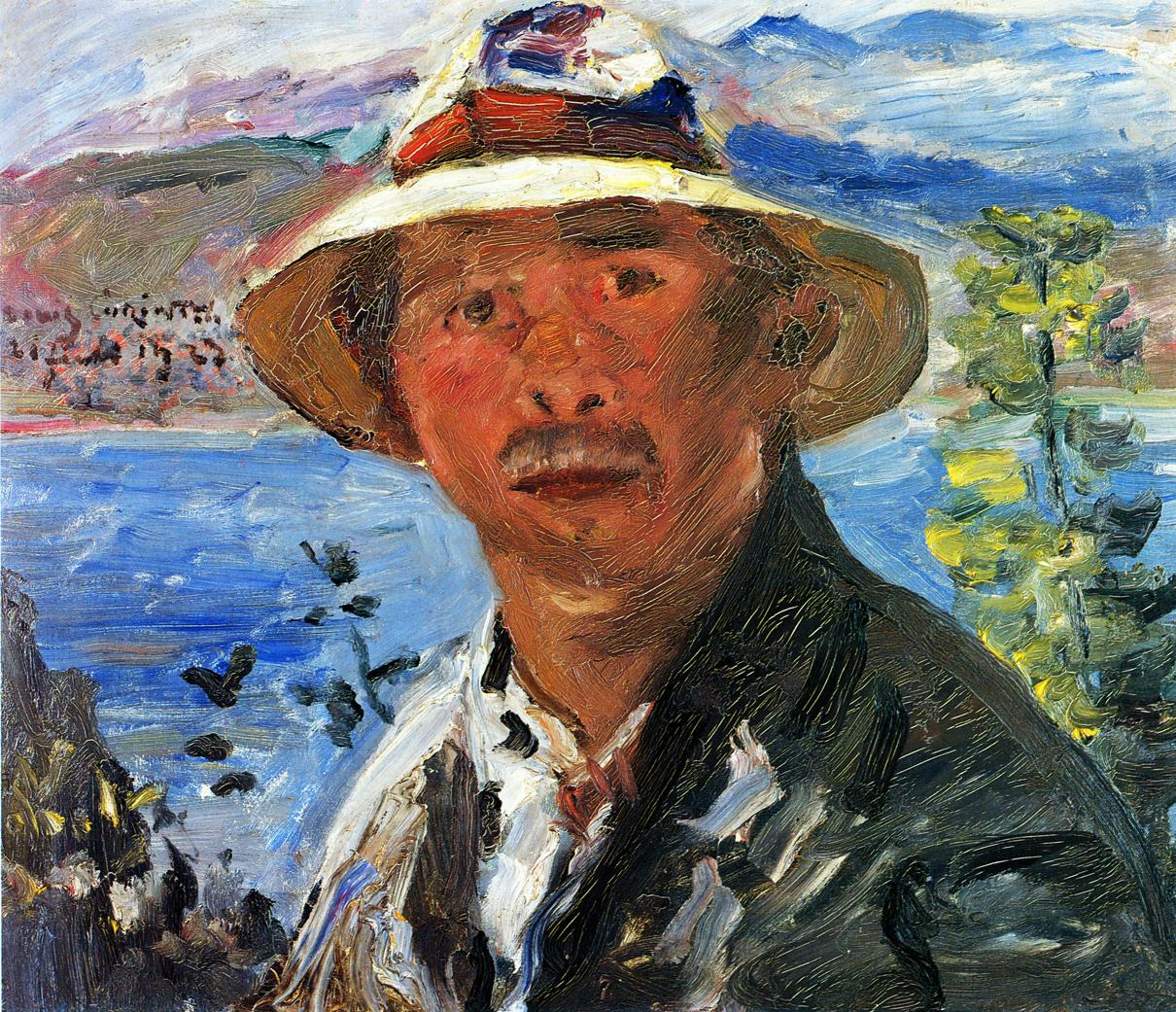 Self Portrait with Straw Hat | Lovis Corinth | oil painting