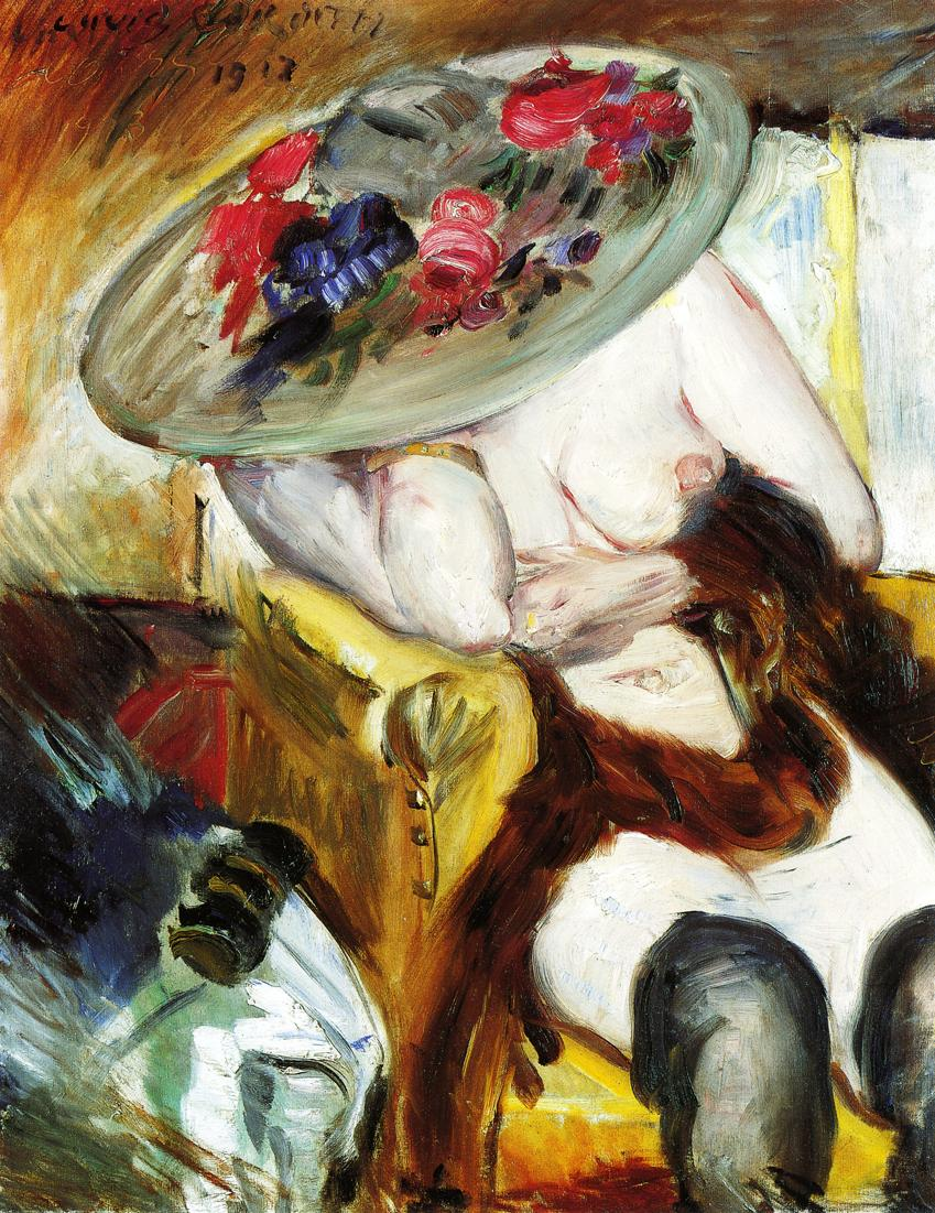 Italian Woman in a Yellow Chair | Lovis Corinth | oil painting