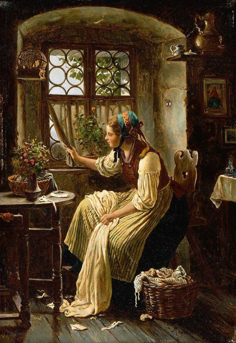 Young Woman Looking through a Window | Johann Georg Meyer | oil painting