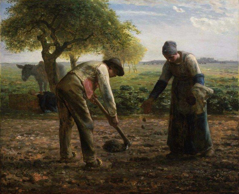 Potato Planters 1861   Jean Francois Millet   oil painting