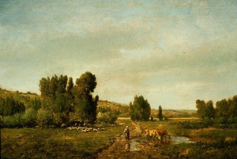 Landscape with a Peasant Watering her Cows | Theodore Rousseau | oil painting