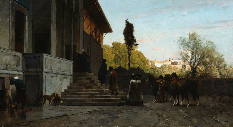 Courtyard in Constantinople 1868 | Alberto Pasini | oil painting