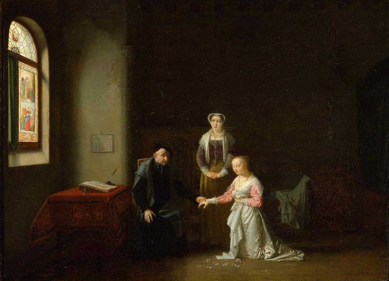 Young Woman Kneeling Before a Priest 1826 | Jean Baptiste Mallet | oil painting
