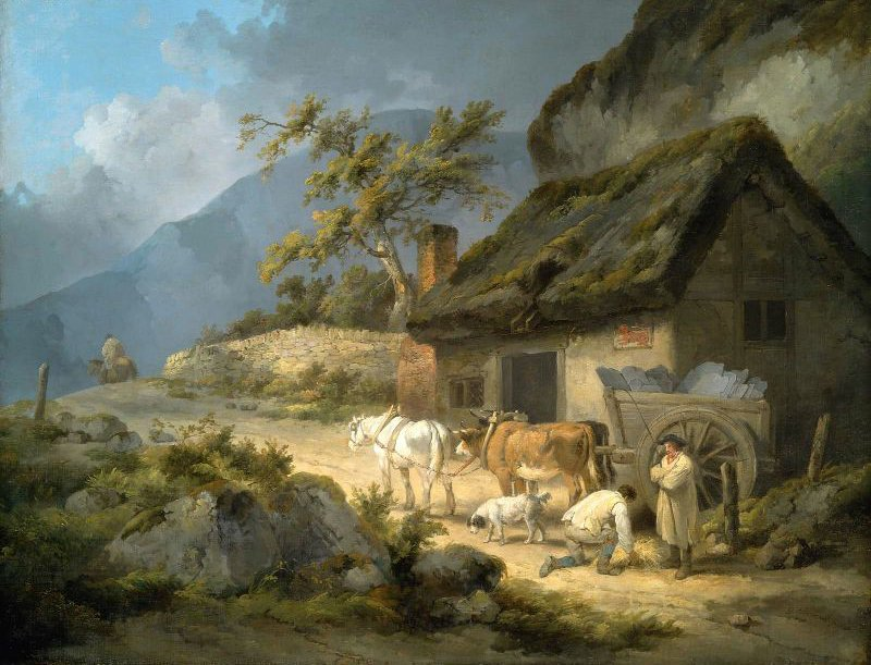 Carters with a Load of Slate | George Morland | oil painting