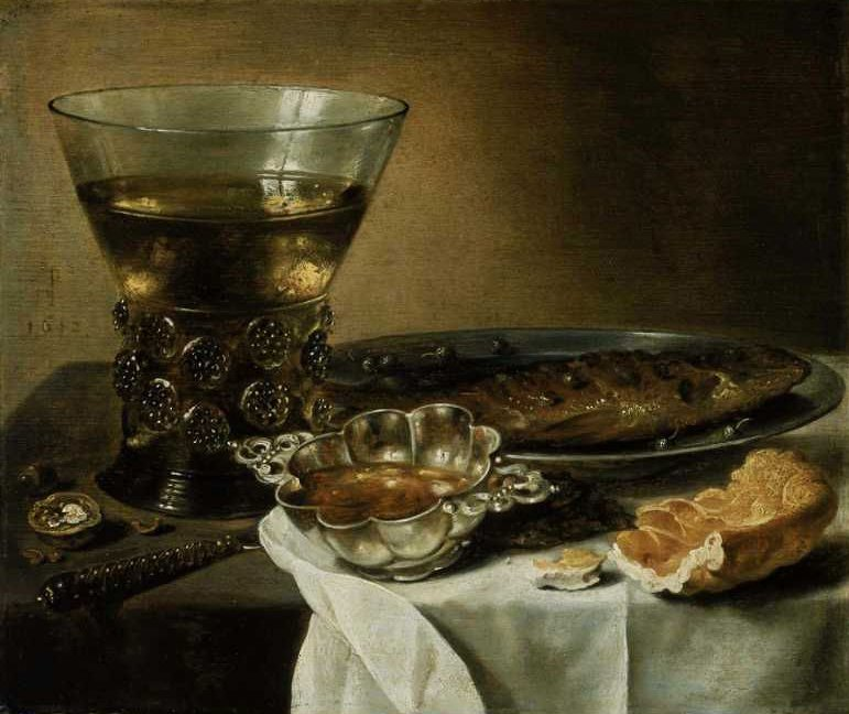 Still Life with Silver Brandy Bowl Wine Glass Herring and Bread 1642 | Pieter Claesz | oil painting