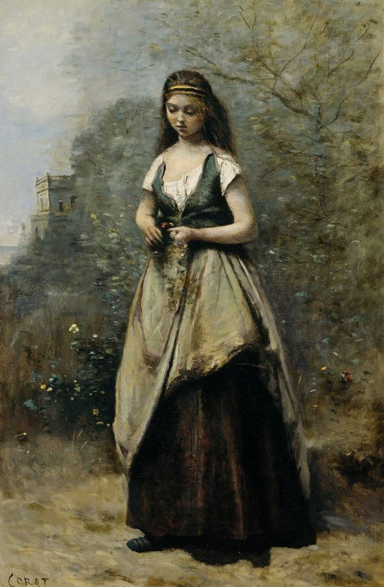 Young Woman Weaving a Wreath of Flowers 1866?70 | Jean Baptiste Camille Corot | oil painting
