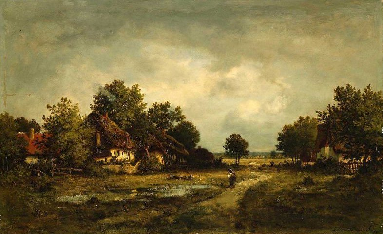 Landscape With Figure Near Pond and Cottages | Leon Richet | oil painting