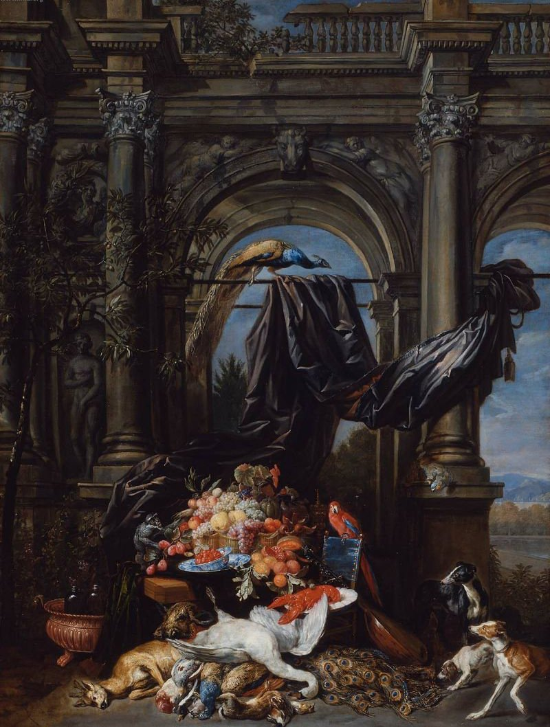 Still Life in an Architectural Setting 1645 | Jan Fyt | oil painting