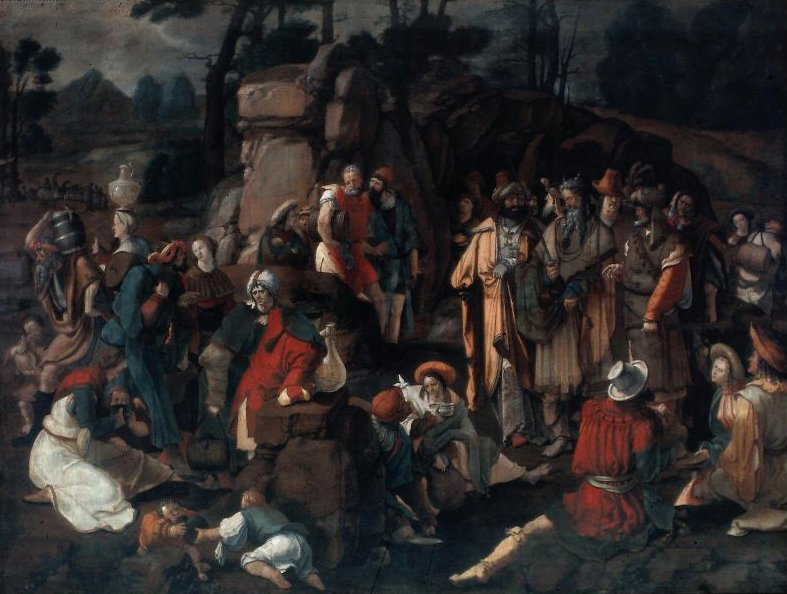 Moses and the Israelites after the Miracle of Water from the Rock 1527 | Lucas van Leyden | oil painting