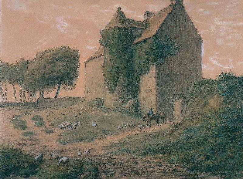 Manor House near Greville 1863   Jean Francois Millet   oil painting