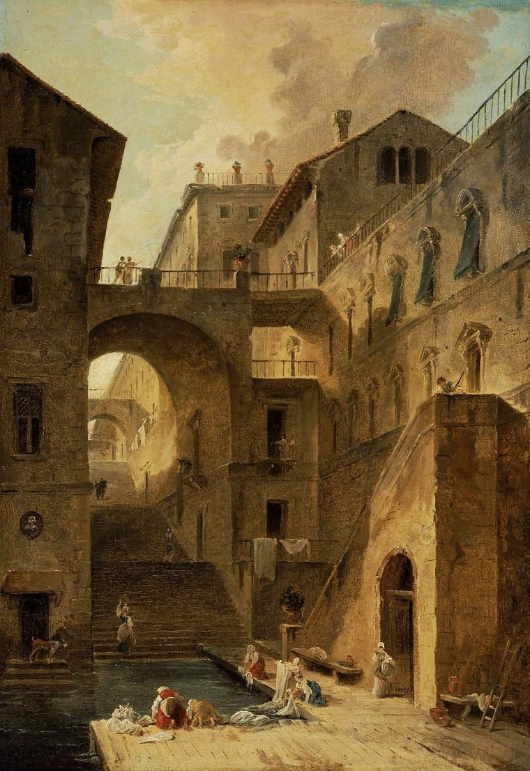 L Escalier des Lavandieres Stairway of the Washerwoman 1796 | Hubert Robert | oil painting