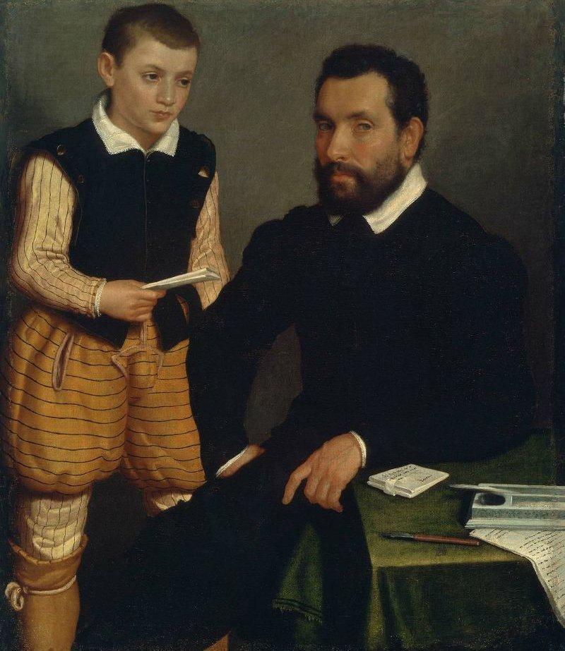 Portrait of a Man and a Boy Count Alborghetti & Son 1545 50 | Giovanni Battista Moroni | oil painting