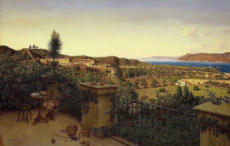 View of the Straits of Messina from a Country House 1859 | Niels Emil Severin Holm | oil painting
