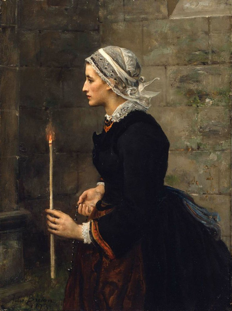 Woman with a Taper 1873 | Jules Breton | oil painting