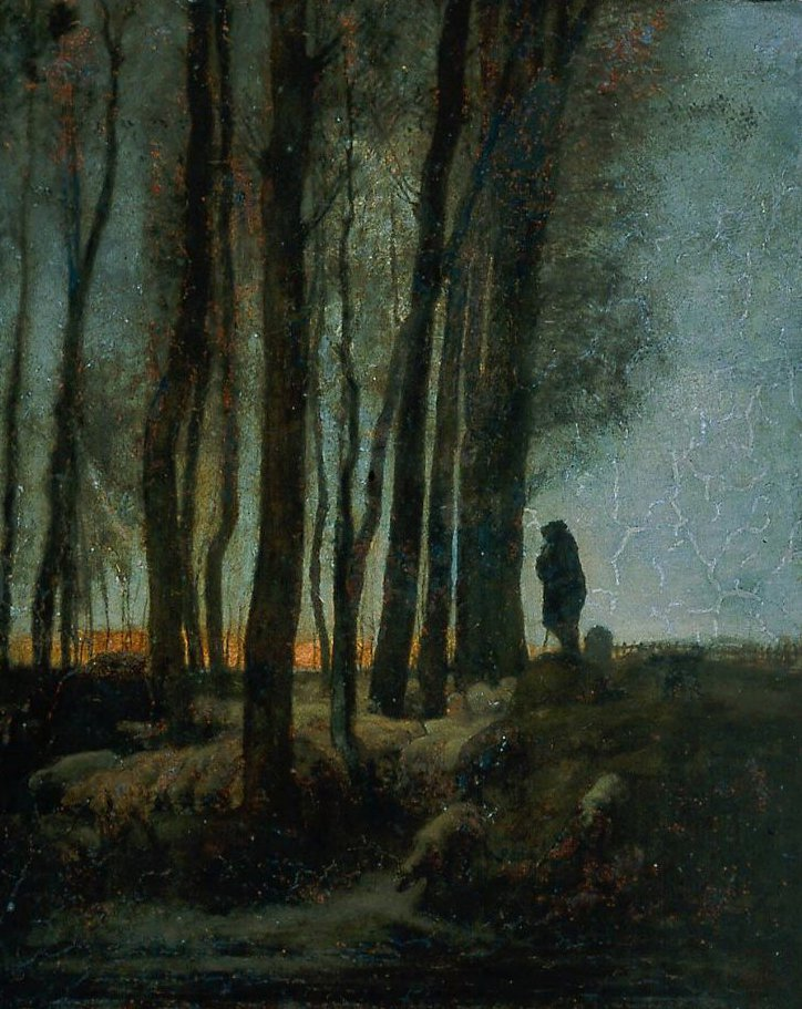 Shepherd and Flock at the Edge of the Forest Evening 1853 | Jean Francois Millet | oil painting