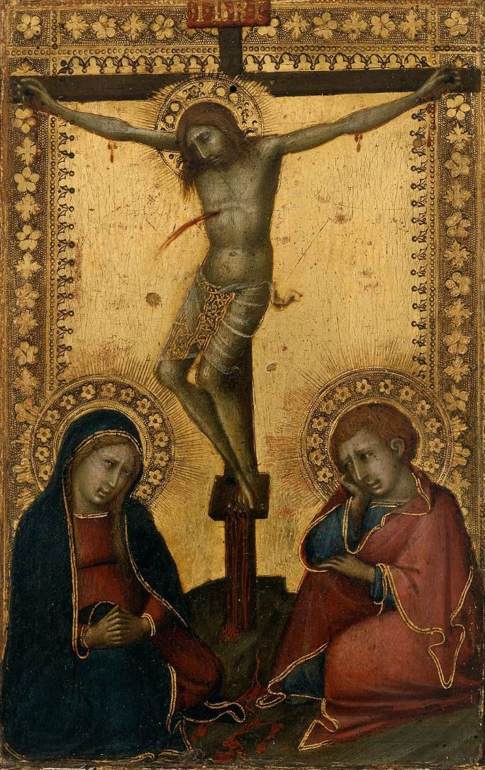 Crucified Christ with the Virgin and Saint John the Evangelist | Naddo Ceccarelli | oil painting