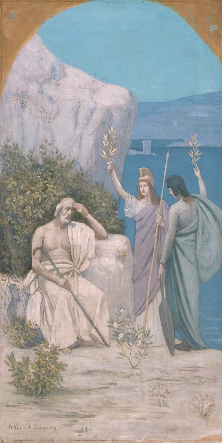 Homer Epic Poetry reduction of a mural in Boston Public Library 1895 | Pierre Puvis de Chavannes | oil painting