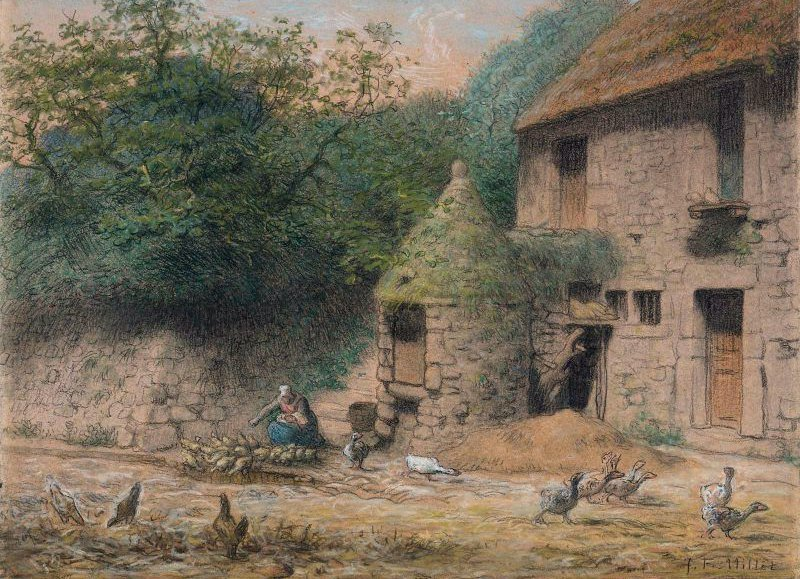 House with a Well at Gruchy 1863 | Jean Francois Millet | oil painting