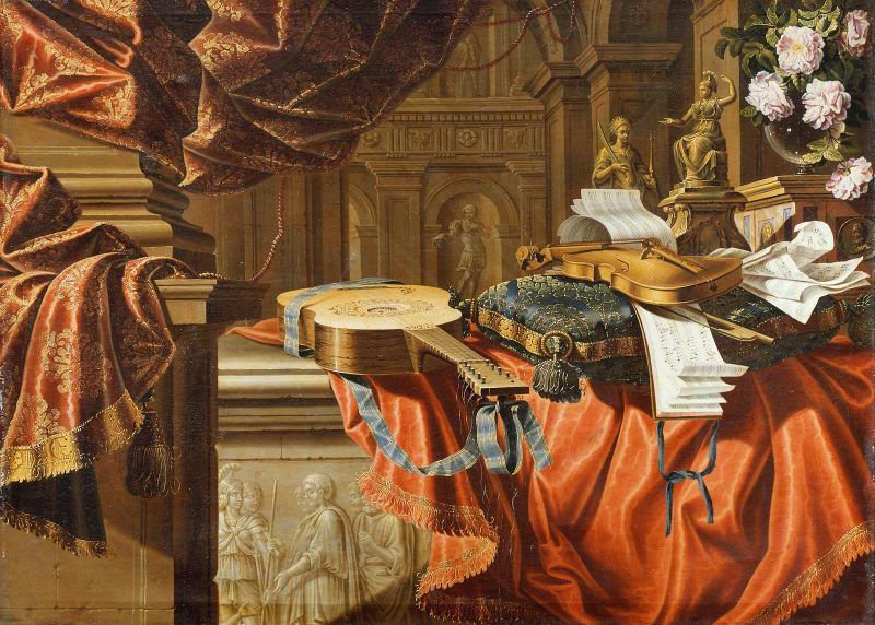Musical Instruments & Sculpture in a Classical Interior | Unidentified artist | oil painting