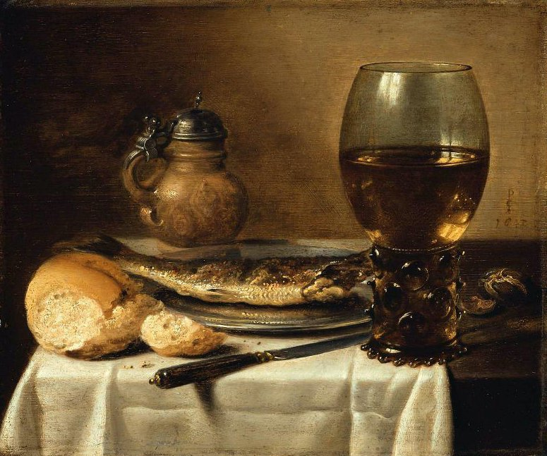 Still Life with Stoneware Jug Wine Glass Herring and Bread 1642 | Pieter Claesz | oil painting
