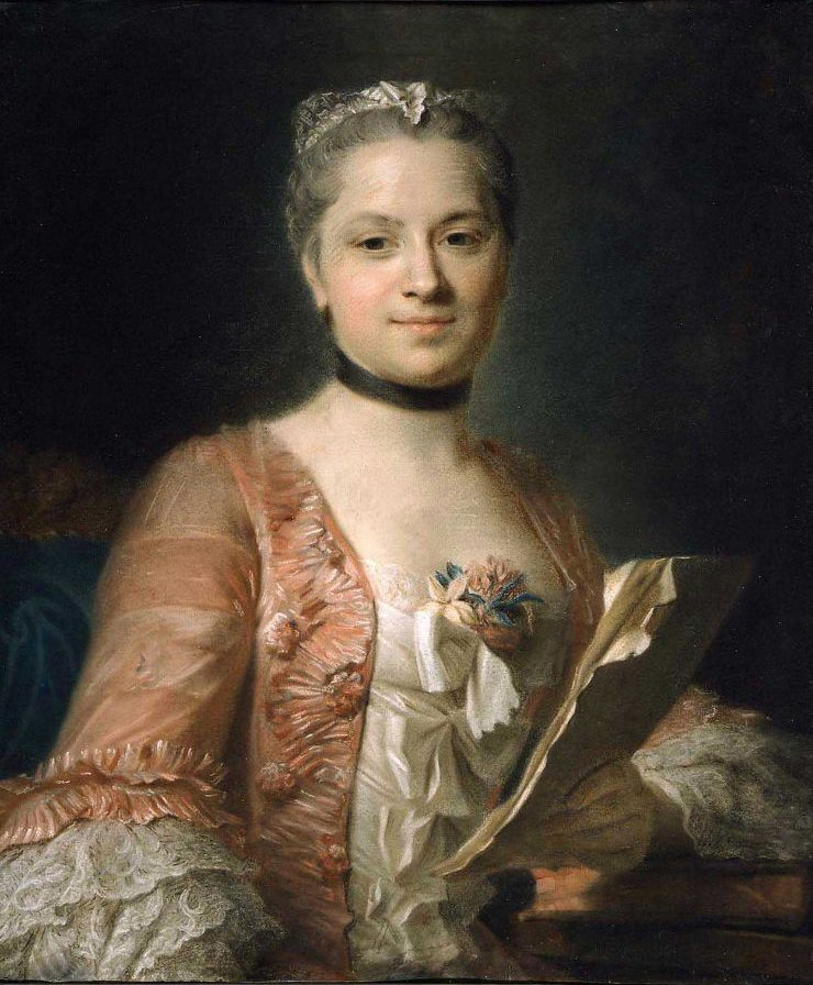 Portrait of a Woman in a Rose Colored Gown 1755 | Maurice Quentin de La Tour | oil painting
