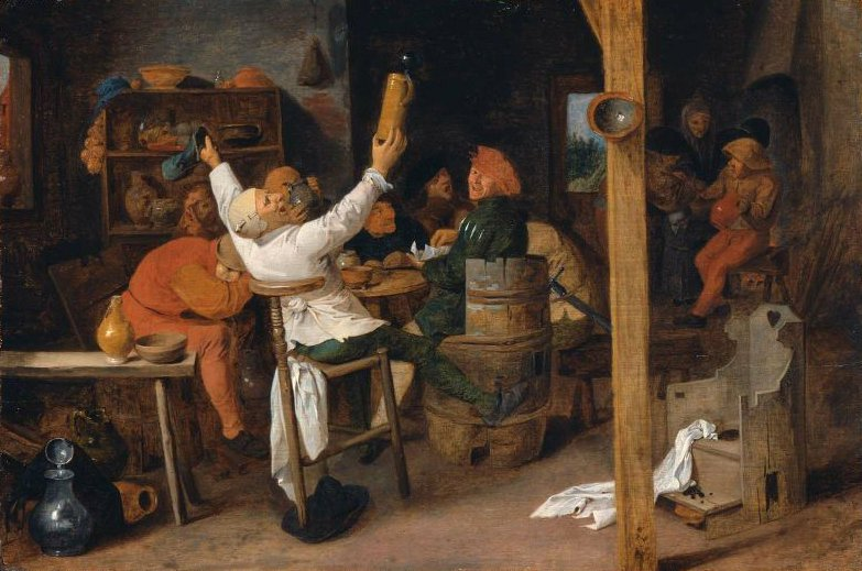 Peasants Carousing in a Tavern   Adriaen Brouwer   oil painting