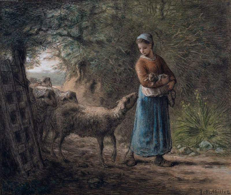 Newborn Lamb 1866   Jean Francois Millet   oil painting