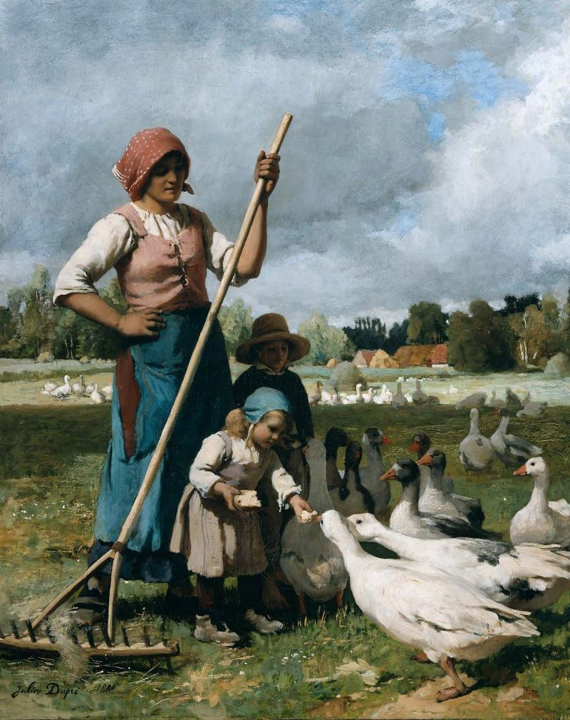 Children Feeding Geese 1881 | Julien Dupre | oil painting