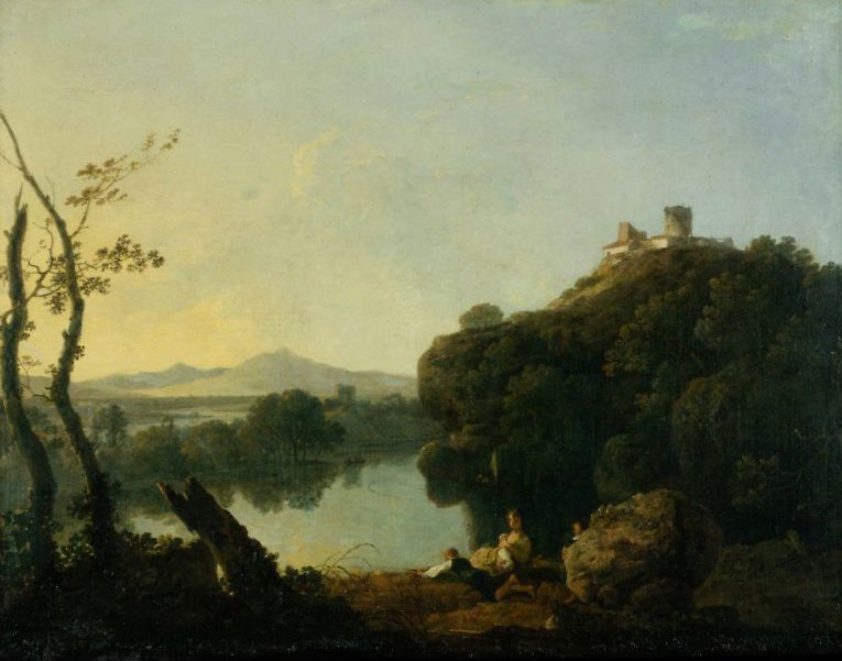 River Landscape with a Boy Fishing On the Arno | Richard Wilson | oil painting