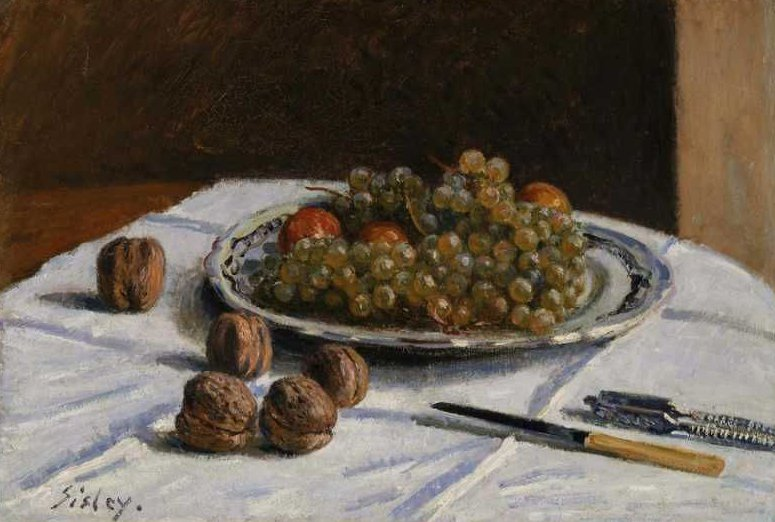 Grapes and Walnuts on a Table 1876 | Alfred Sisley | oil painting
