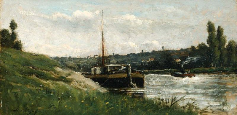 Barge on a River | Charles Francois Daubigny | oil painting