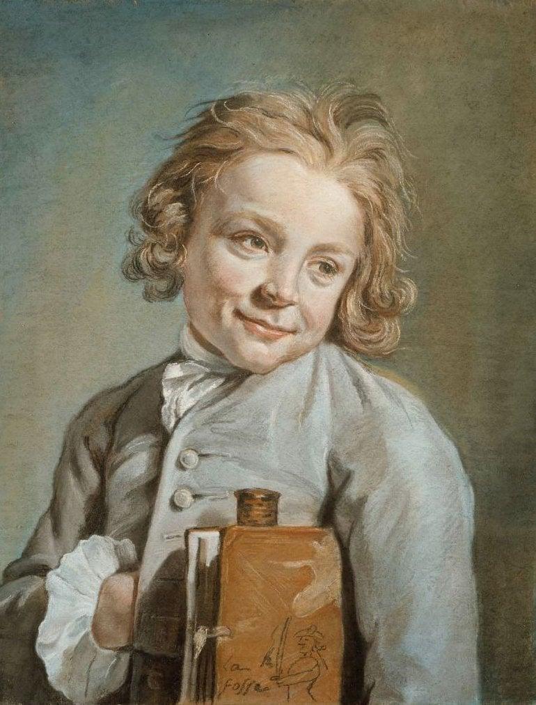 Portrait of a Boy Holding a Portfolio Le Jeune Ecolier | Nicolas Bernard Lepicie | oil painting