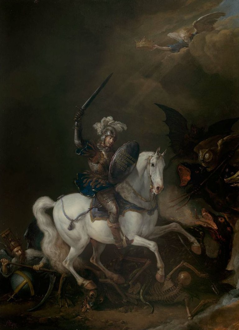 Knight Vanquishing Time Death and Monstrous Demons 1662 | Philips Wouwerman | oil painting