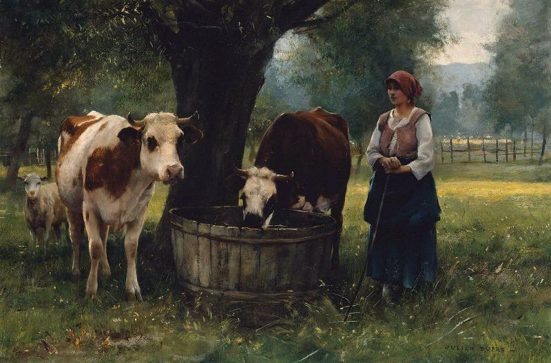 Young Woman Watering Cattle | Julien Dupre | oil painting