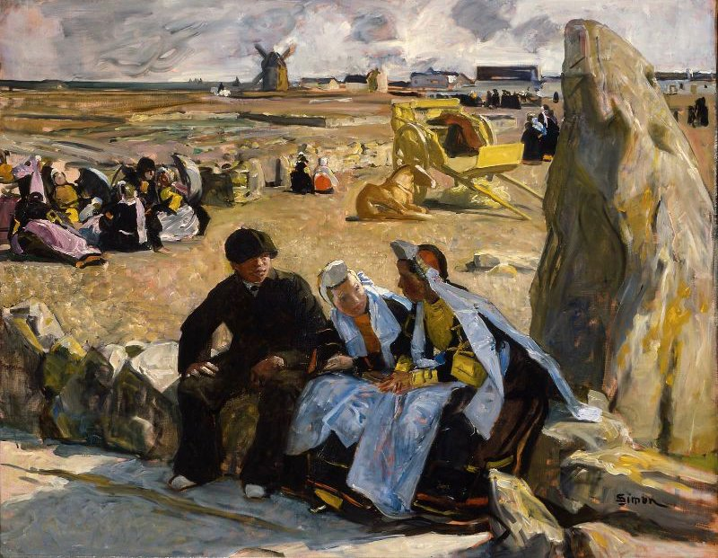 Breton Peasants Seated beside a Menhir | Lucien Simon | oil painting