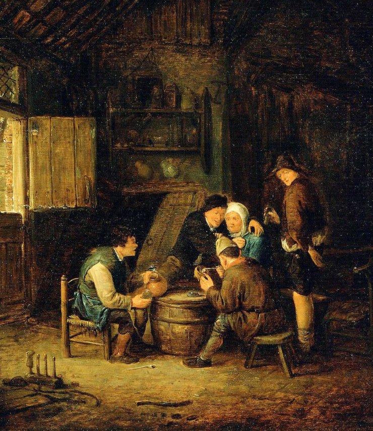 Peasants Gathered Round a Barrel mid 1650s | Adriaen van Ostade | oil painting