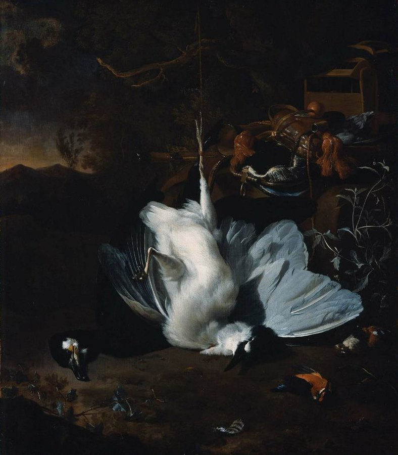 Dead Birds and Hunting Equipment in a Landscape | Jan Weenix | oil painting