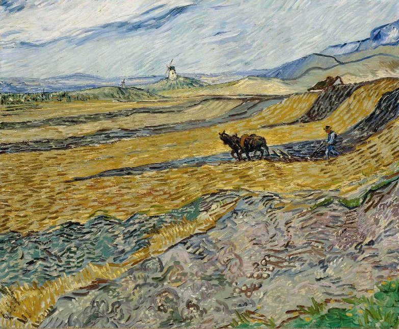 Enclosed Field with Ploughman 1889   Vincent van Gogh   oil painting