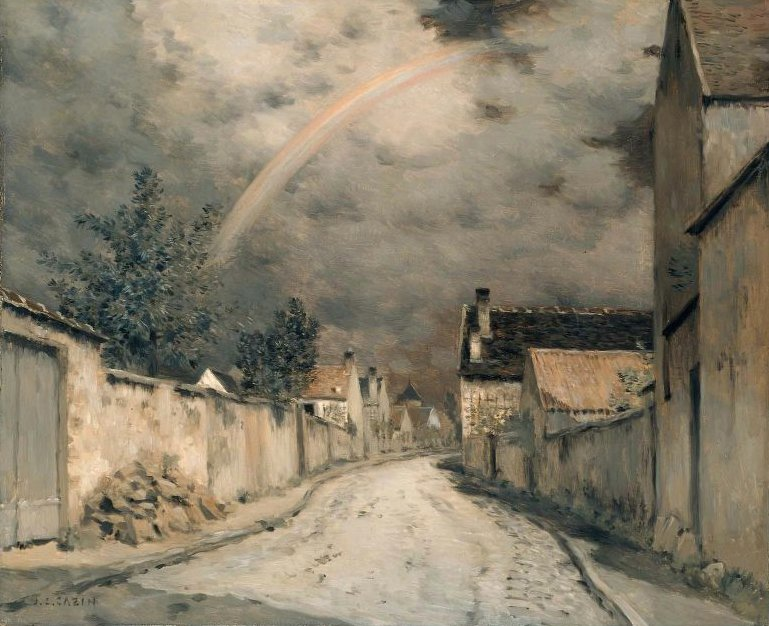 Village Street with a Rainbow 1880s | Stanislas Henri Jean Cazin | oil painting