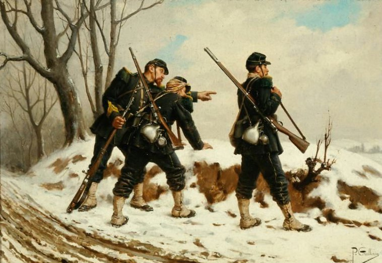 French Soldiers in the Snow | Paul Louis Narcisse Grolleron | oil painting