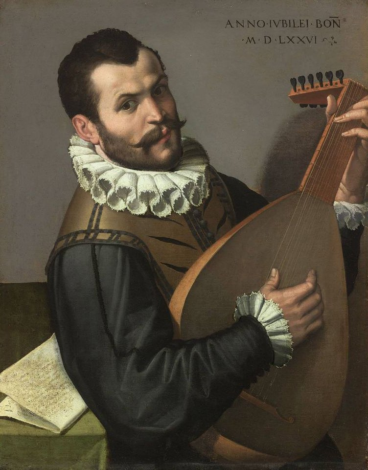 Portrait of a Man Playing a Lute 1576 | Bartolomeo Passarotti | oil painting