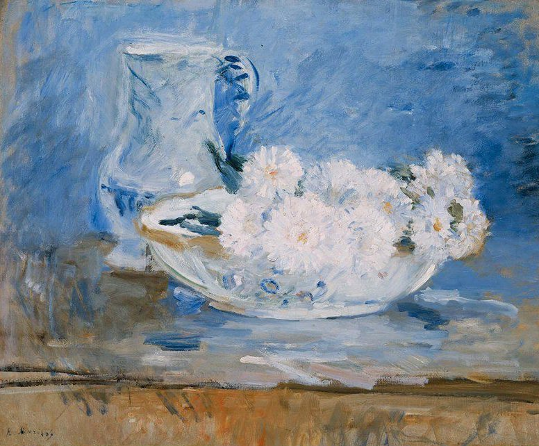 White Flowers in a Bowl 1885 | Berthe Morisot | oil painting