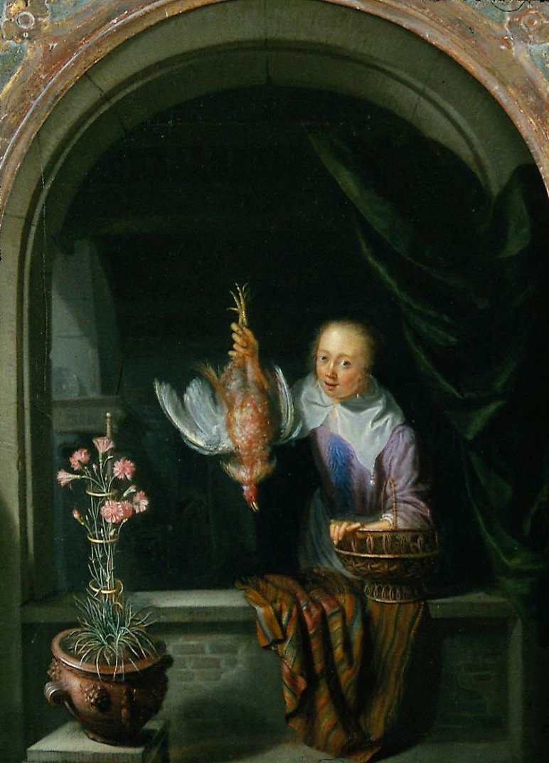 Woman in a Window Holding a Dead Fowl | Dominicus van Tol | oil painting