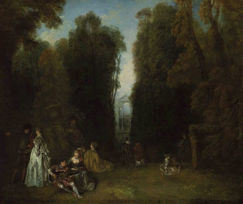 La Perspective View through the Trees in the Park of Pierre Crozat 1715 | Antoine Watteau | oil painting