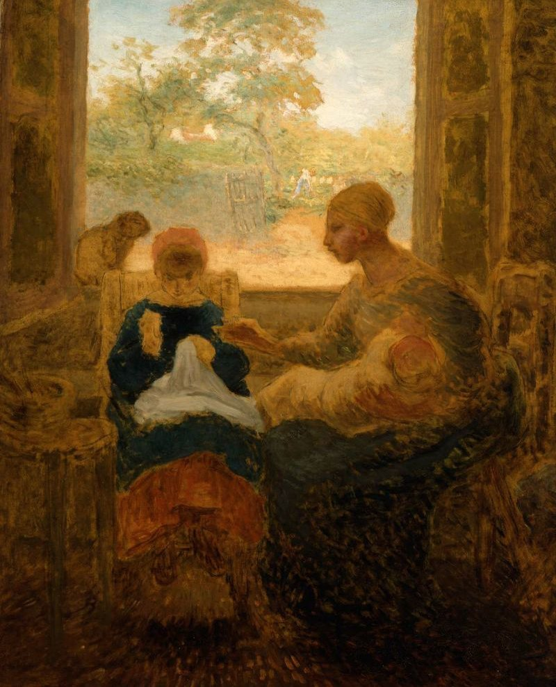 Sewing Lesson | Jean Francois Millet | oil painting