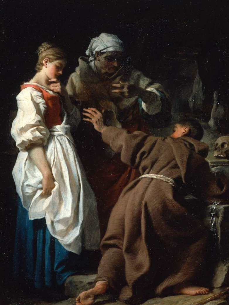 Brother Luce the Hermit with the Widow and her Daughter | Pierre Hubert Subleyras | oil painting