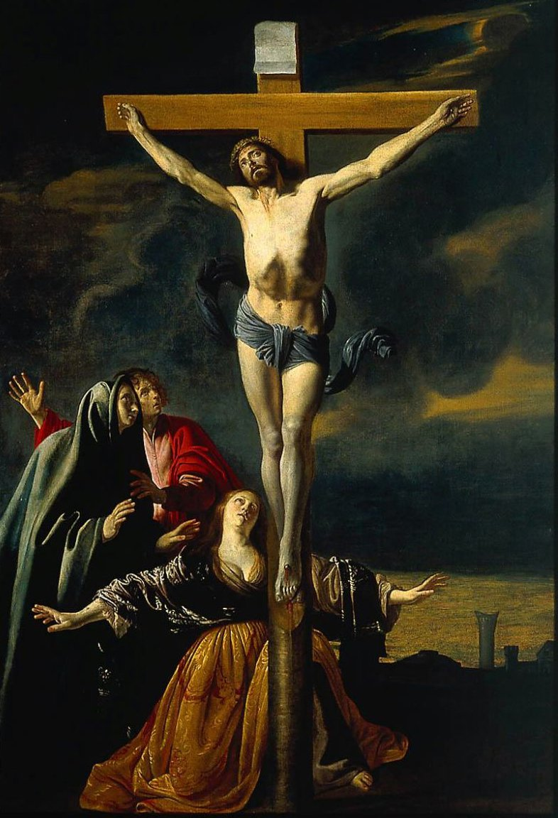 The Crucifixion with the Virgin Saints John and Mary Magdalen | Mathieu Le Nain | oil painting
